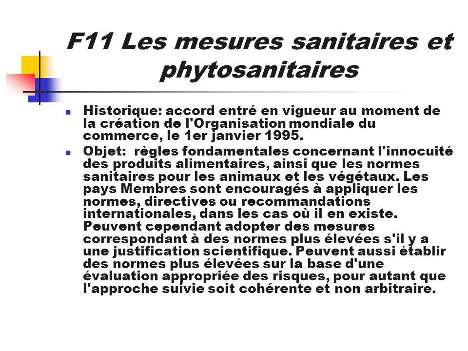 F11 Les mesures sanitaires et phytosanitaires