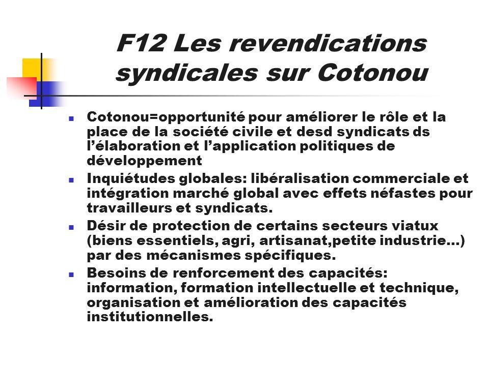 F12 Les revendications syndicales sur Cotonou