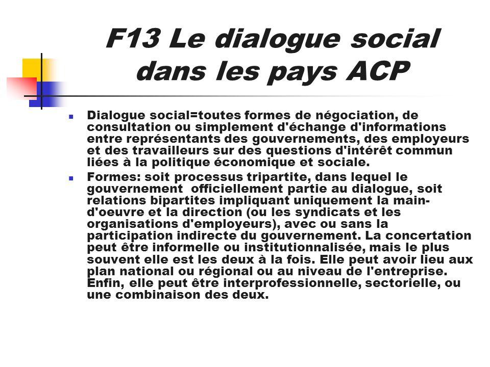 F13 Le dialogue social dans les pays ACP