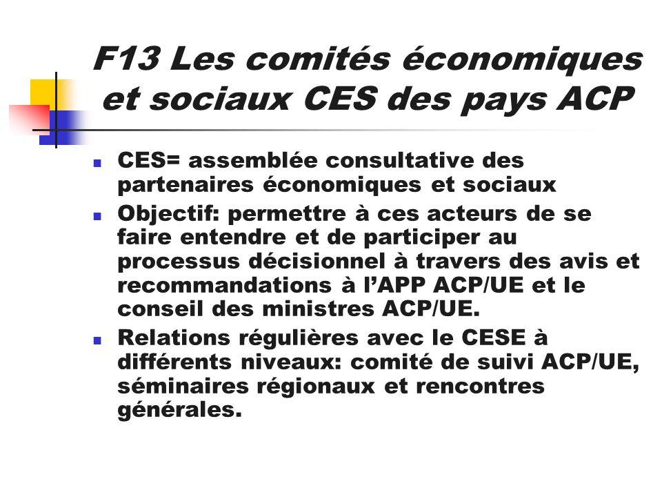 F13 Les comités économiques et sociaux CES des pays ACP