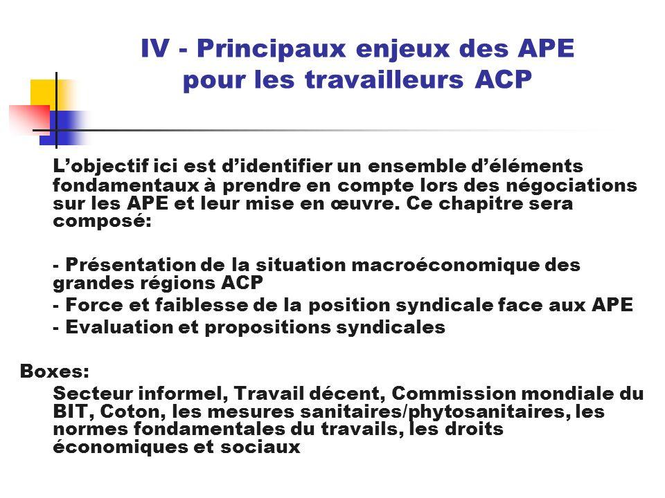 IV - Principaux enjeux des APE pour les travailleurs ACP