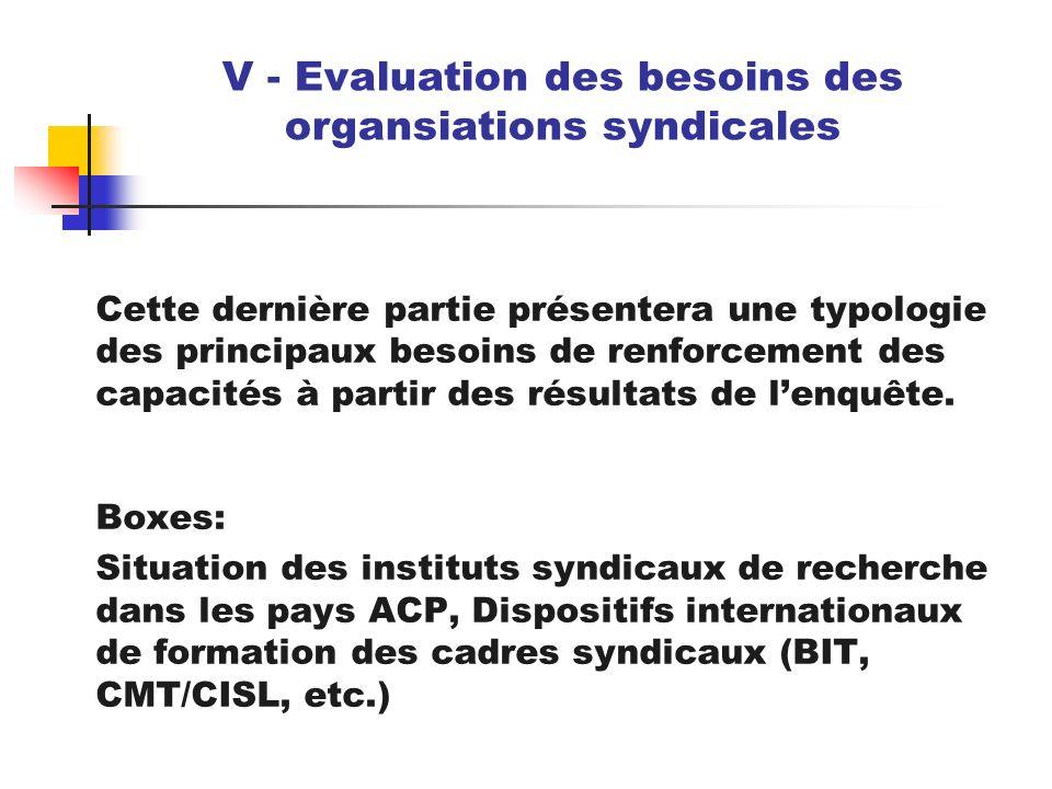 V - Evaluation des besoins des organsiations syndicales