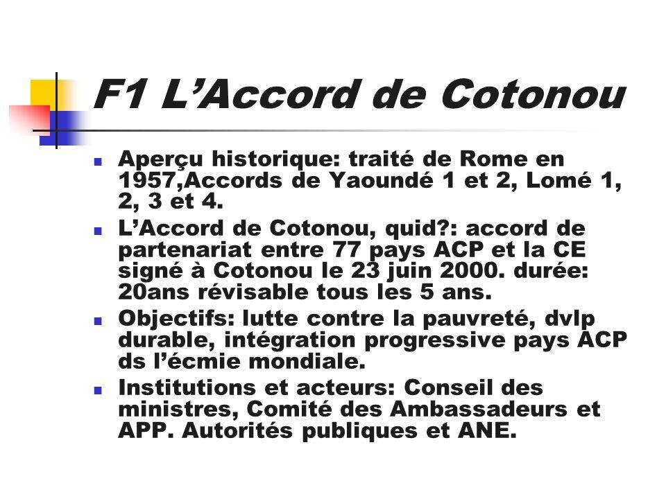 F1 L'Accord de Cotonou Aperçu historique: traité de Rome en 1957,Accords de Yaoundé 1 et 2, Lomé 1, 2, 3 et 4.