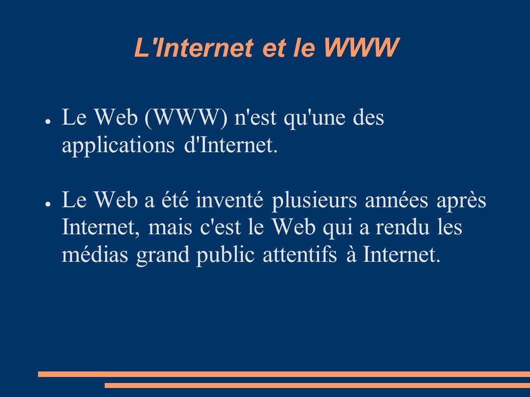 L Internet et le WWW Le Web (WWW) n est qu une des applications d Internet.