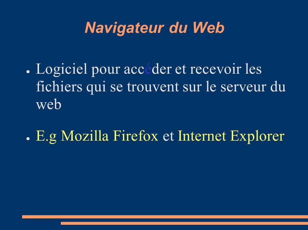 Navigateur du Web Logiciel pour accéder et recevoir les fichiers qui se trouvent sur le serveur du web.