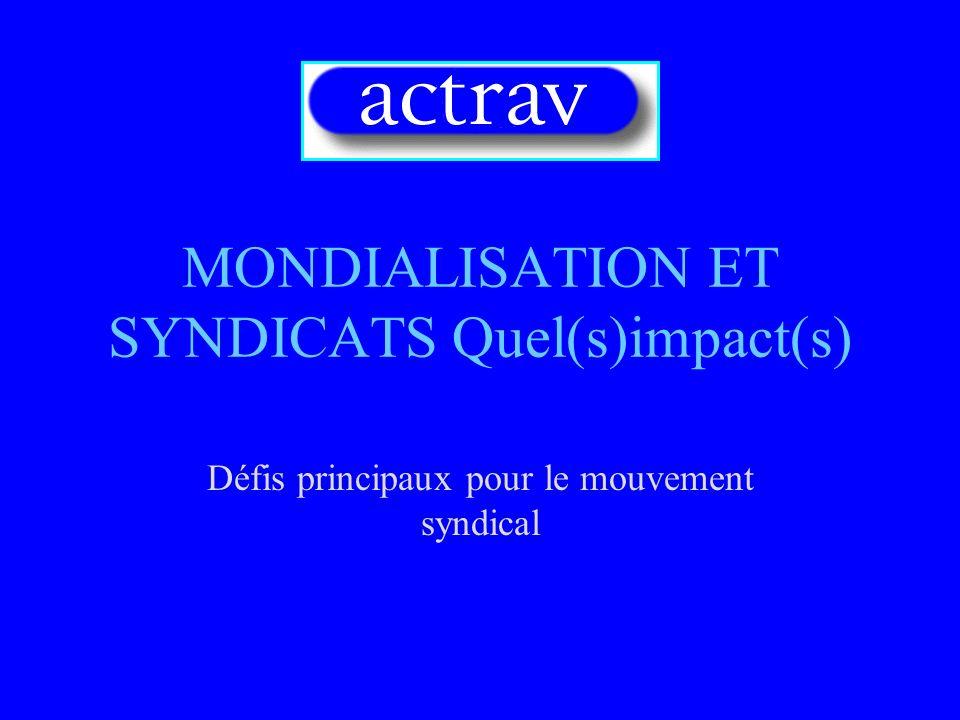 MONDIALISATION ET SYNDICATS Quel(s)impact(s)