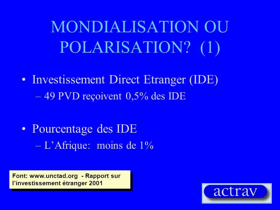 MONDIALISATION OU POLARISATION (1)