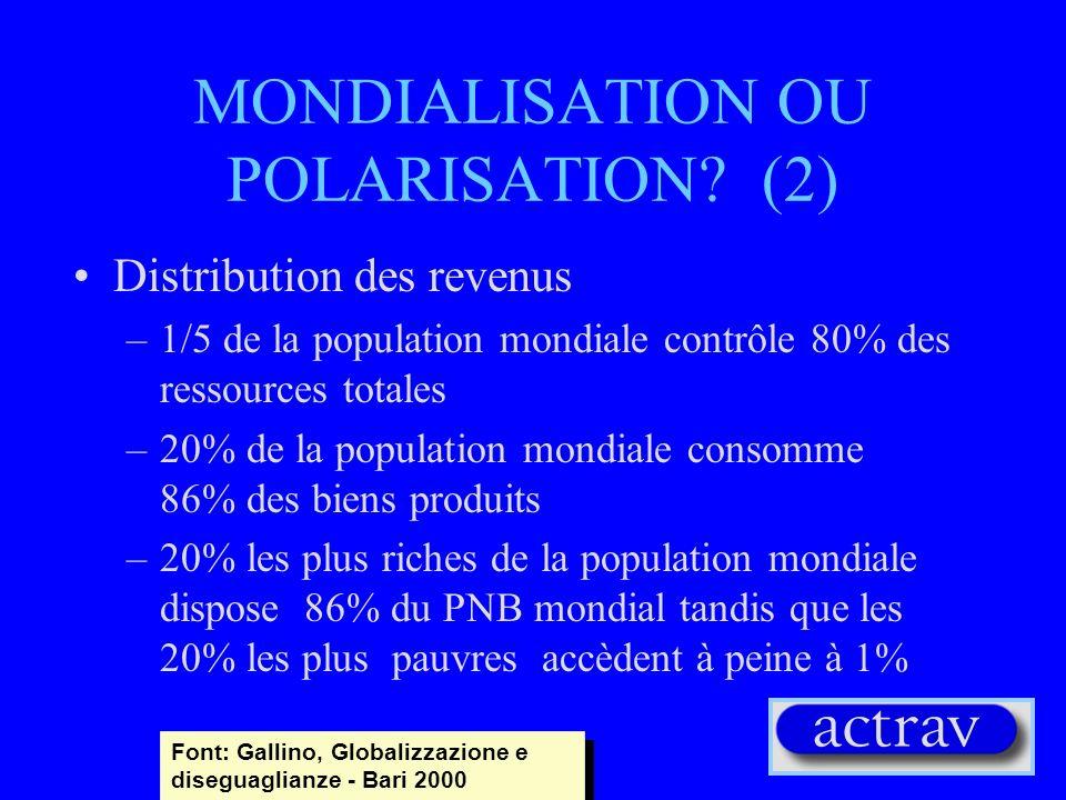 MONDIALISATION OU POLARISATION (2)