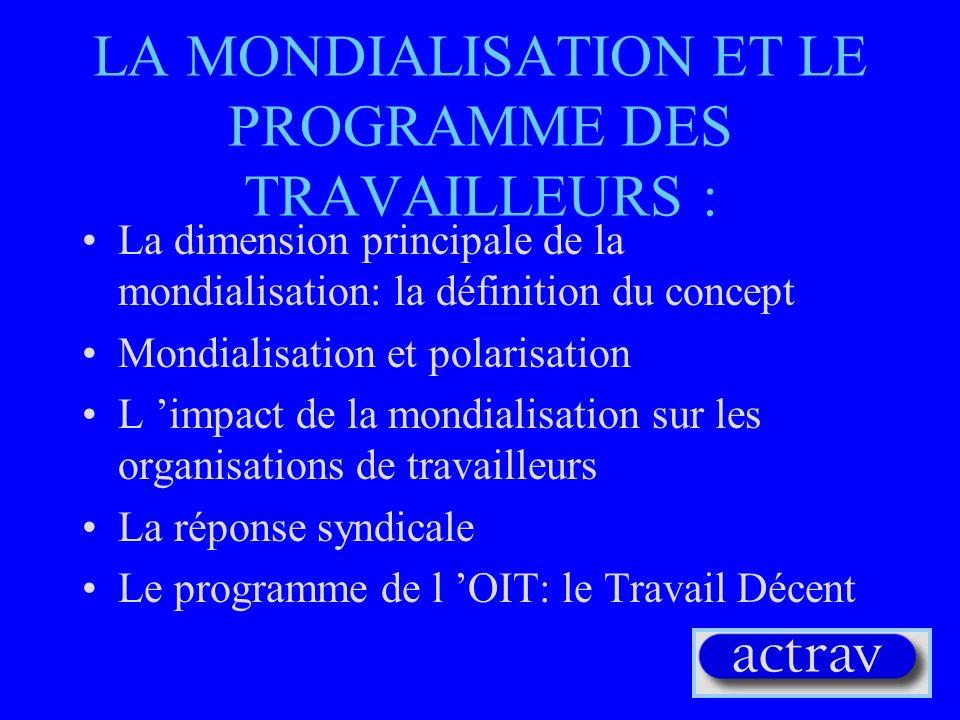 LA MONDIALISATION ET LE PROGRAMME DES TRAVAILLEURS :