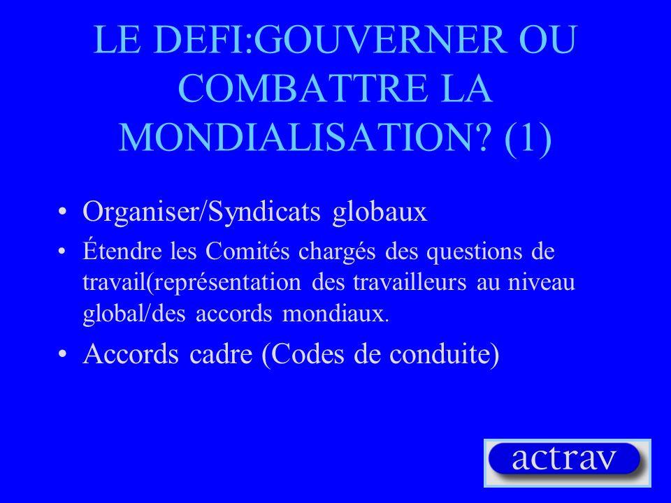LE DEFI:GOUVERNER OU COMBATTRE LA MONDIALISATION (1)