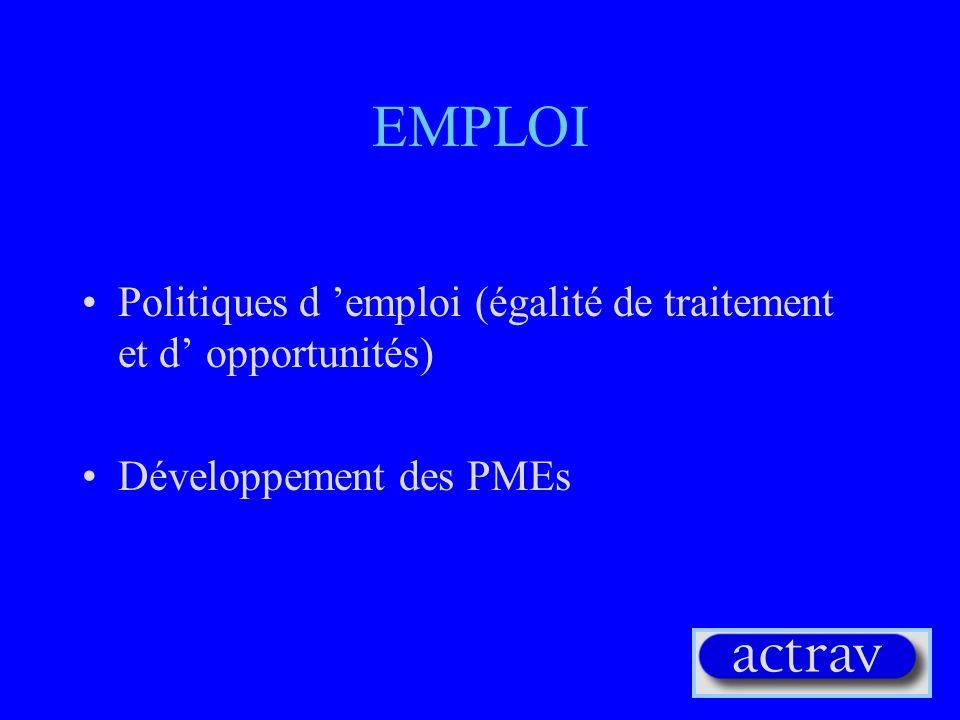 EMPLOI Politiques d 'emploi (égalité de traitement et d' opportunités)