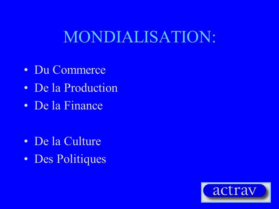 MONDIALISATION: Du Commerce De la Production De la Finance