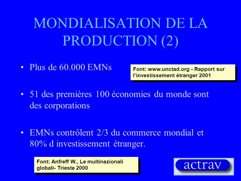 MONDIALISATION DE LA PRODUCTION (2)