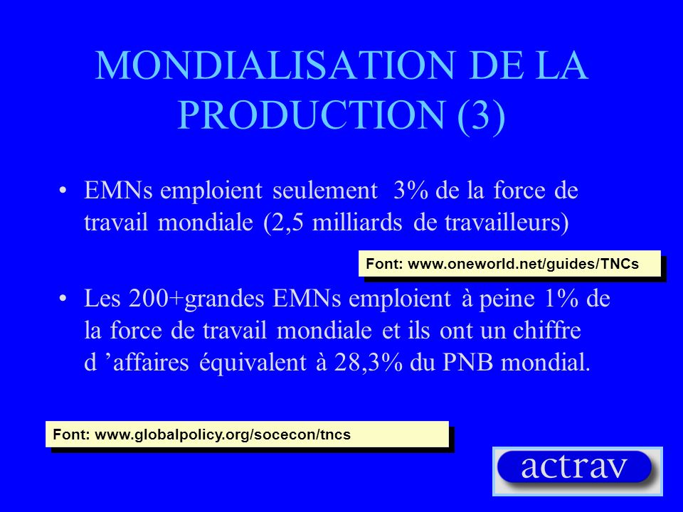MONDIALISATION DE LA PRODUCTION (3)