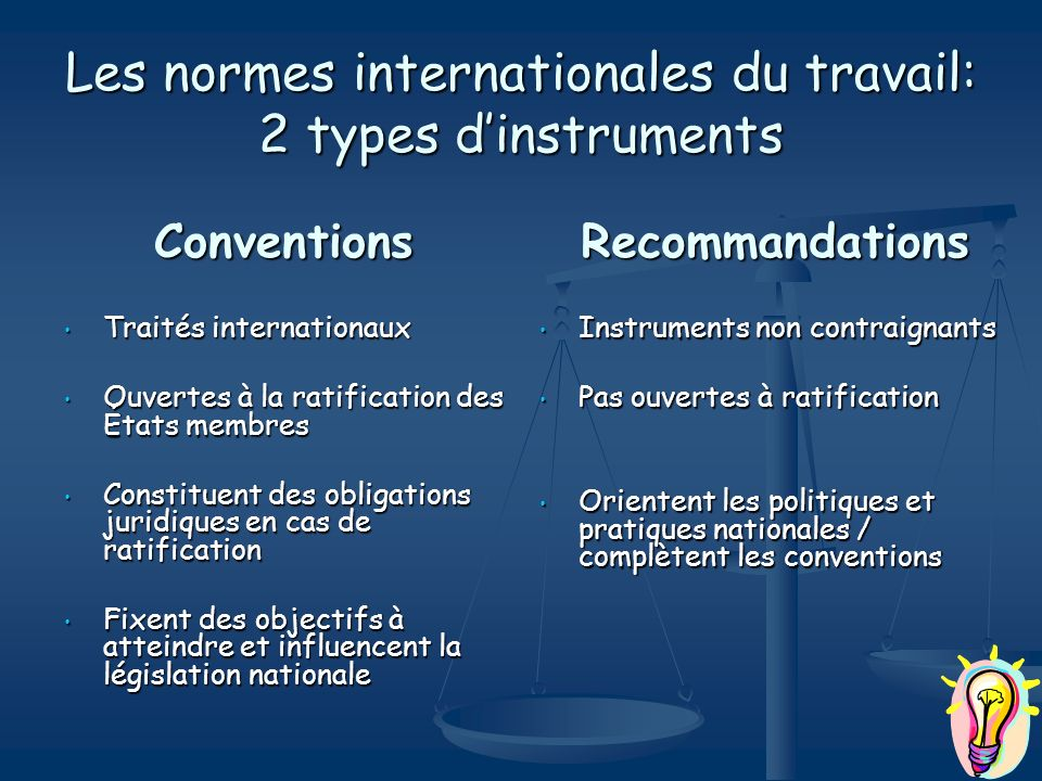 Les normes internationales du travail: 2 types d'instruments