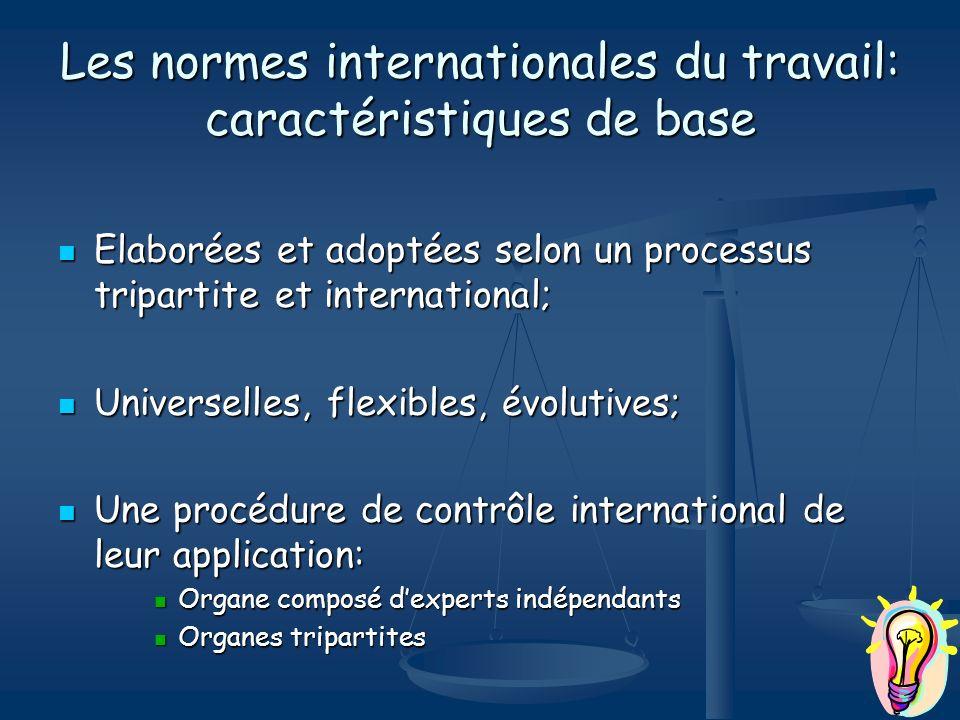 Les normes internationales du travail: caractéristiques de base