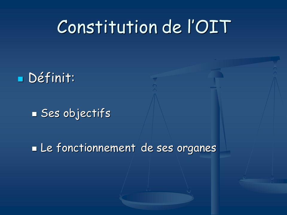 Constitution de l'OIT Définit: Ses objectifs