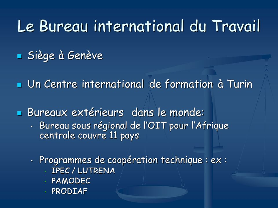 Le Bureau international du Travail