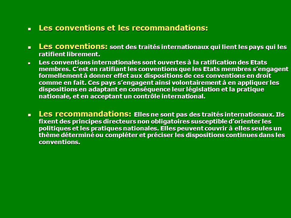 Les conventions et les recommandations: