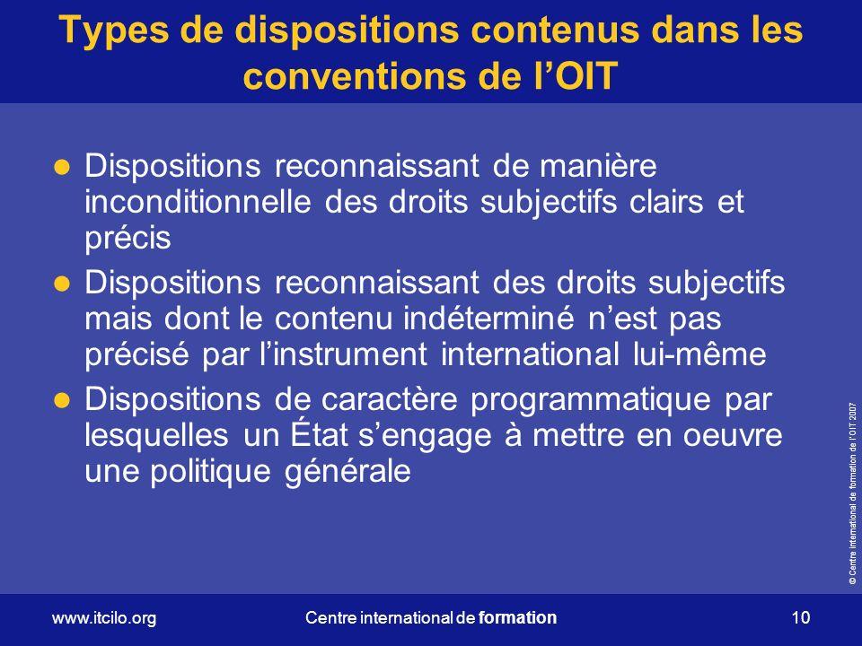 Types de dispositions contenus dans les conventions de l'OIT