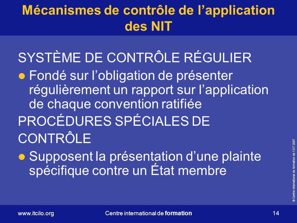 Mécanismes de contrôle de l'application des NIT