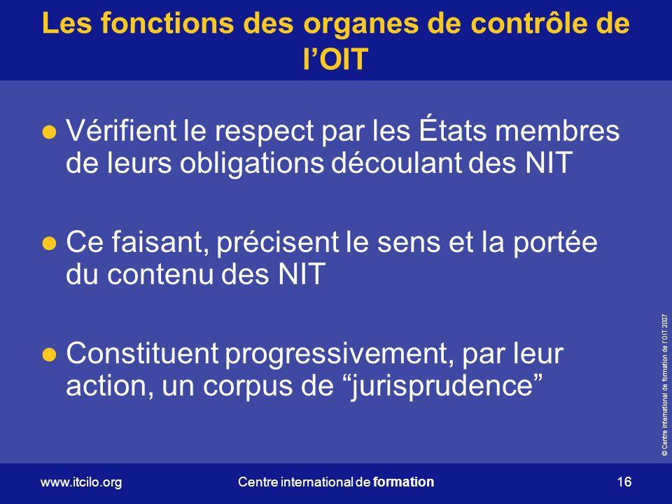 Les fonctions des organes de contrôle de l'OIT