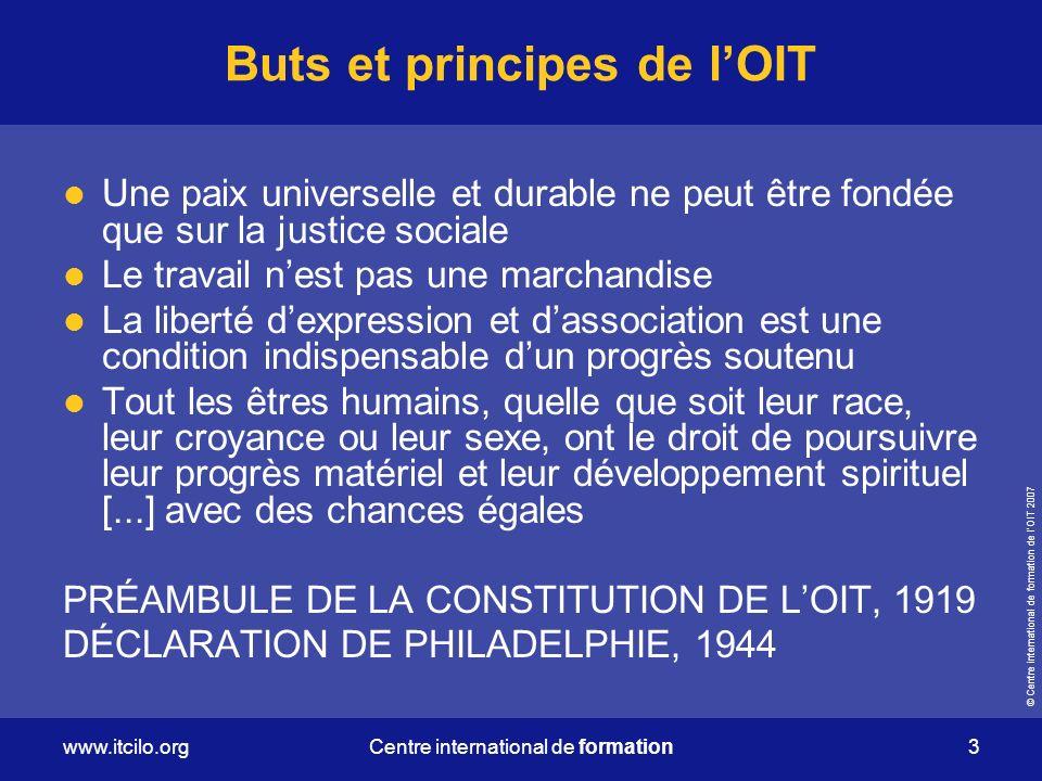 Buts et principes de l'OIT
