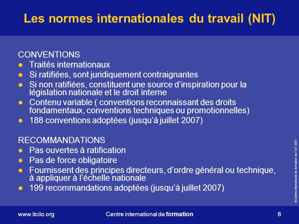 Les normes internationales du travail (NIT)