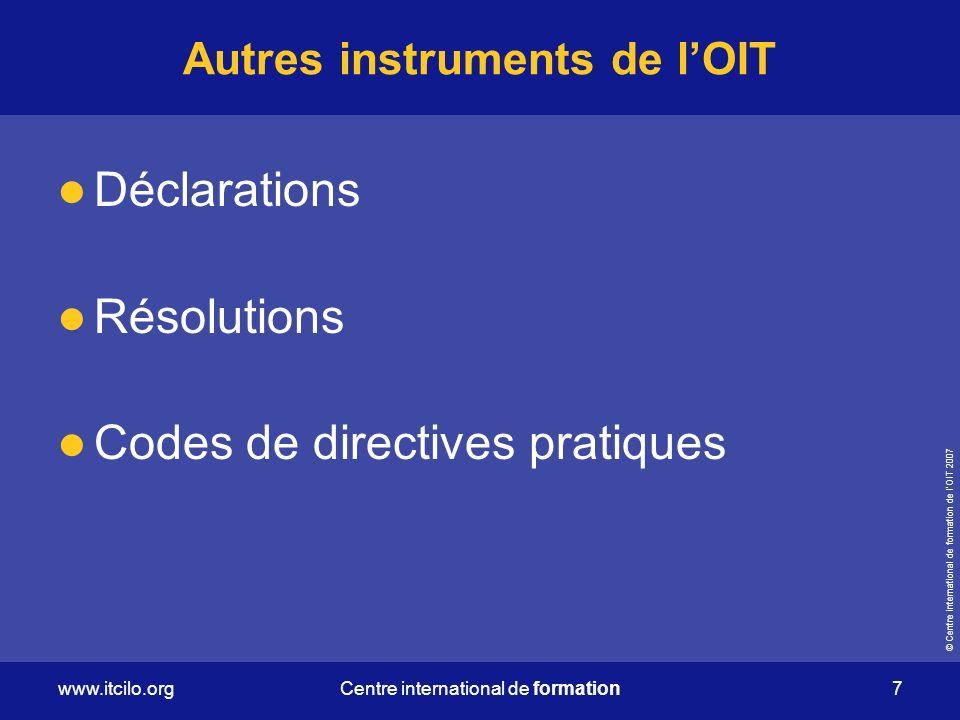 Autres instruments de l'OIT