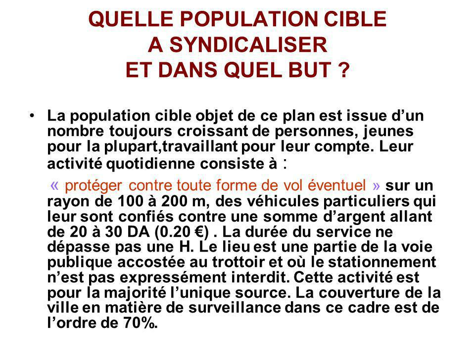 QUELLE POPULATION CIBLE A SYNDICALISER ET DANS QUEL BUT