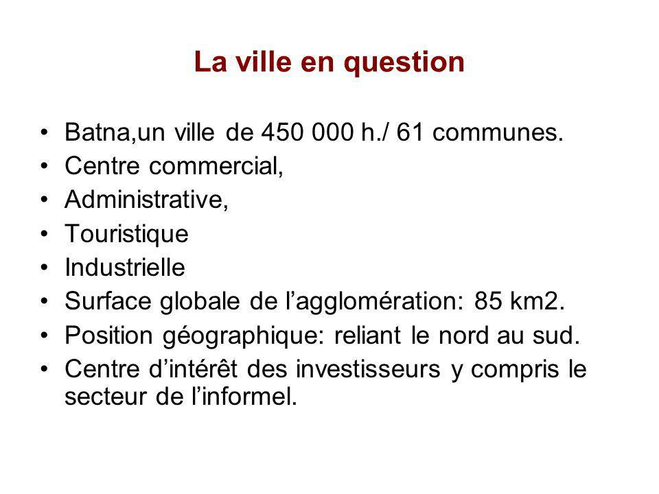 La ville en question Batna,un ville de 450 000 h./ 61 communes.