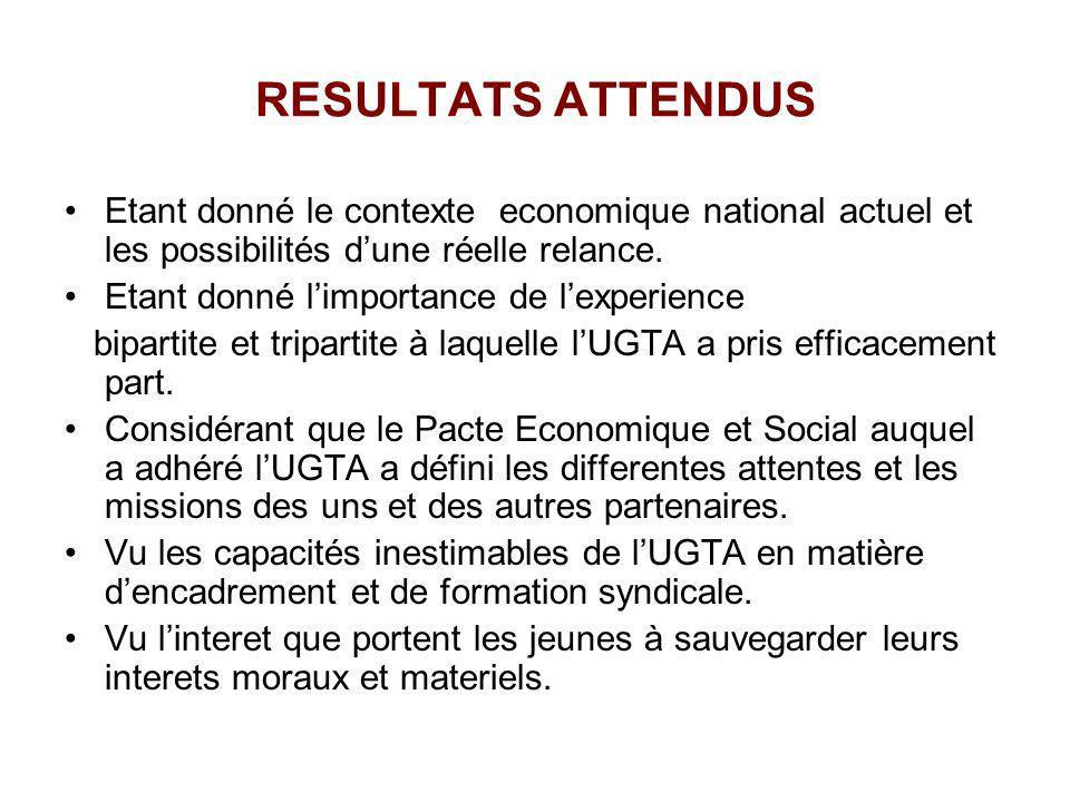 RESULTATS ATTENDUS Etant donné le contexte economique national actuel et les possibilités d'une réelle relance.