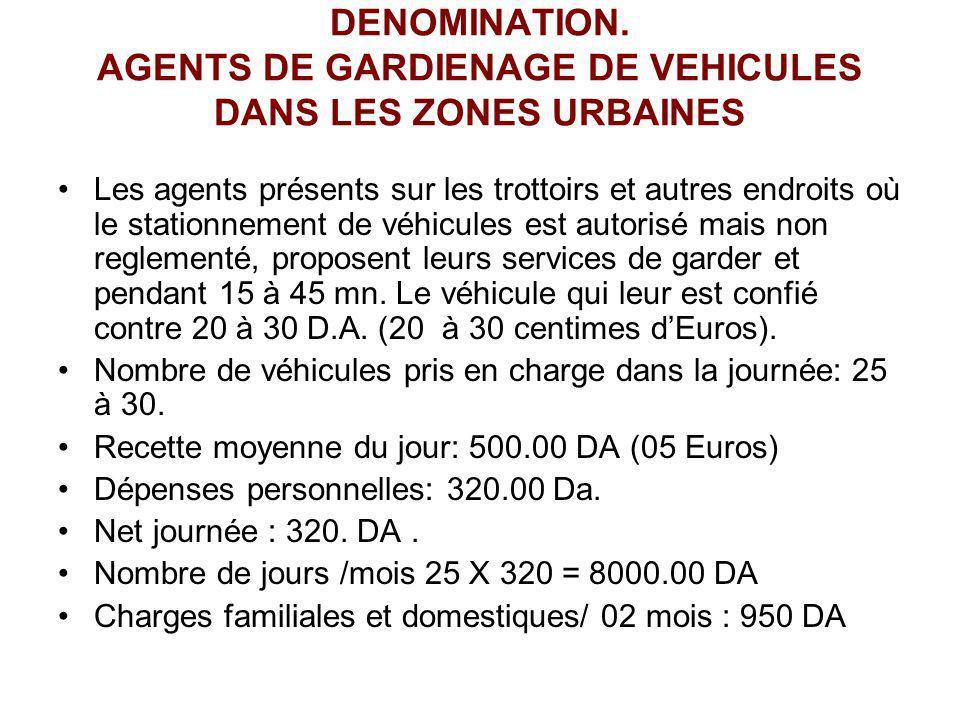 DENOMINATION. AGENTS DE GARDIENAGE DE VEHICULES DANS LES ZONES URBAINES