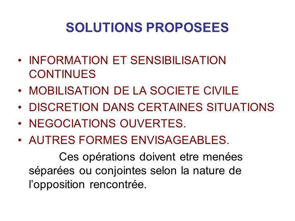 SOLUTIONS PROPOSEES INFORMATION ET SENSIBILISATION CONTINUES