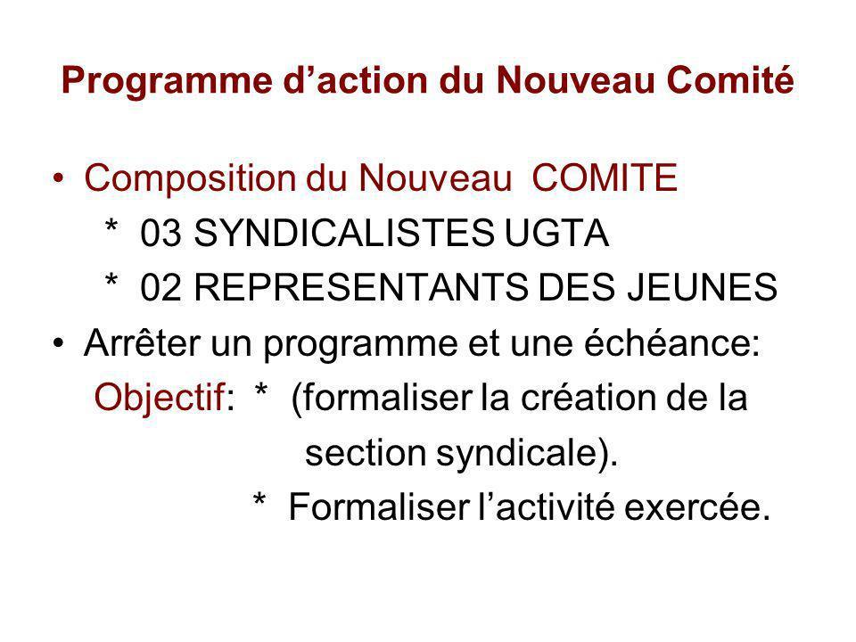 Programme d'action du Nouveau Comité