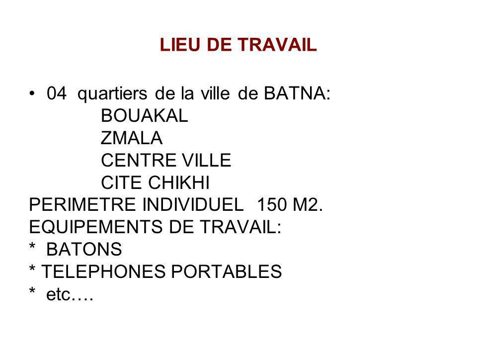 LIEU DE TRAVAIL 04 quartiers de la ville de BATNA: BOUAKAL. ZMALA. CENTRE VILLE. CITE CHIKHI. PERIMETRE INDIVIDUEL 150 M2.