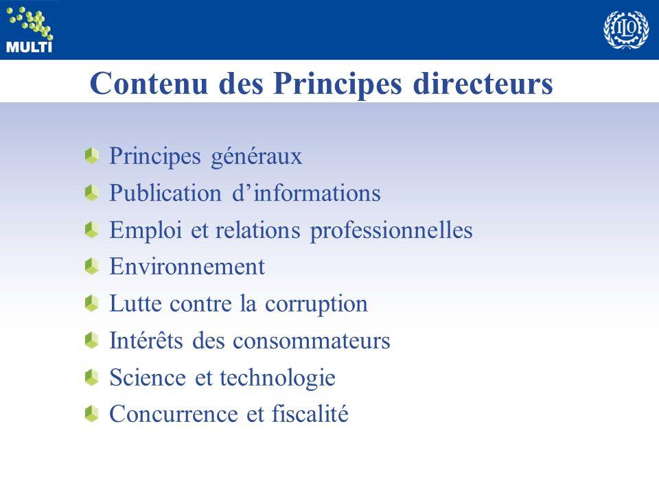 Contenu des Principes directeurs