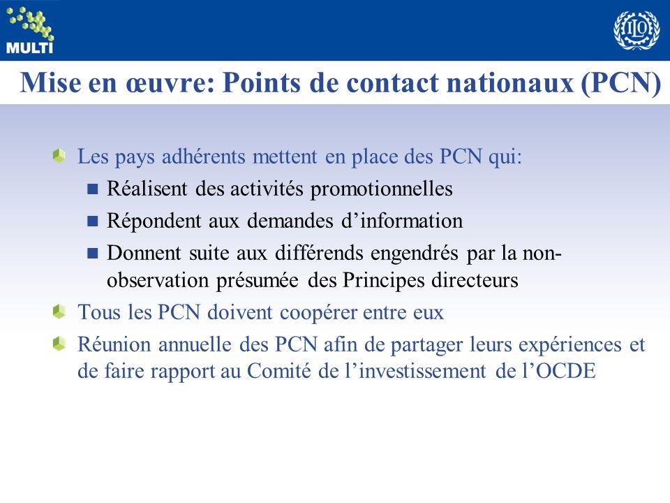 Mise en œuvre: Points de contact nationaux (PCN)