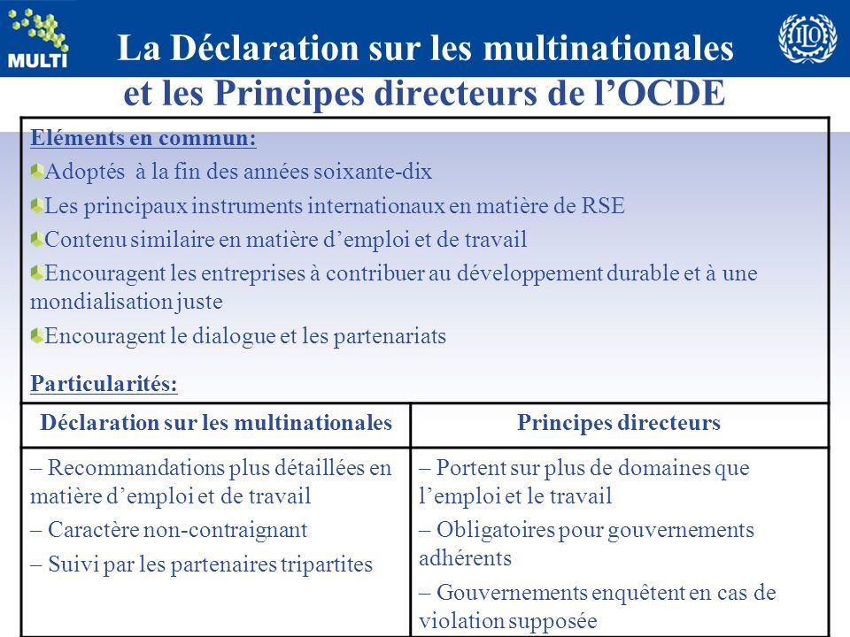 Déclaration sur les multinationales