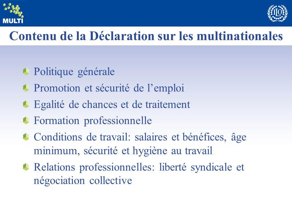 Contenu de la Déclaration sur les multinationales