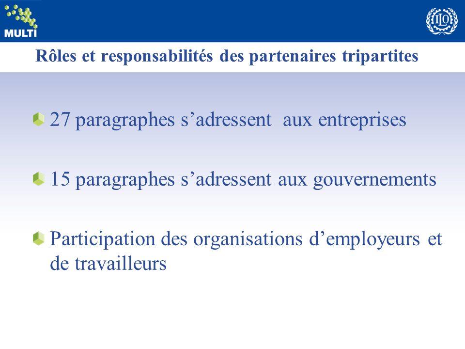 Rôles et responsabilités des partenaires tripartites