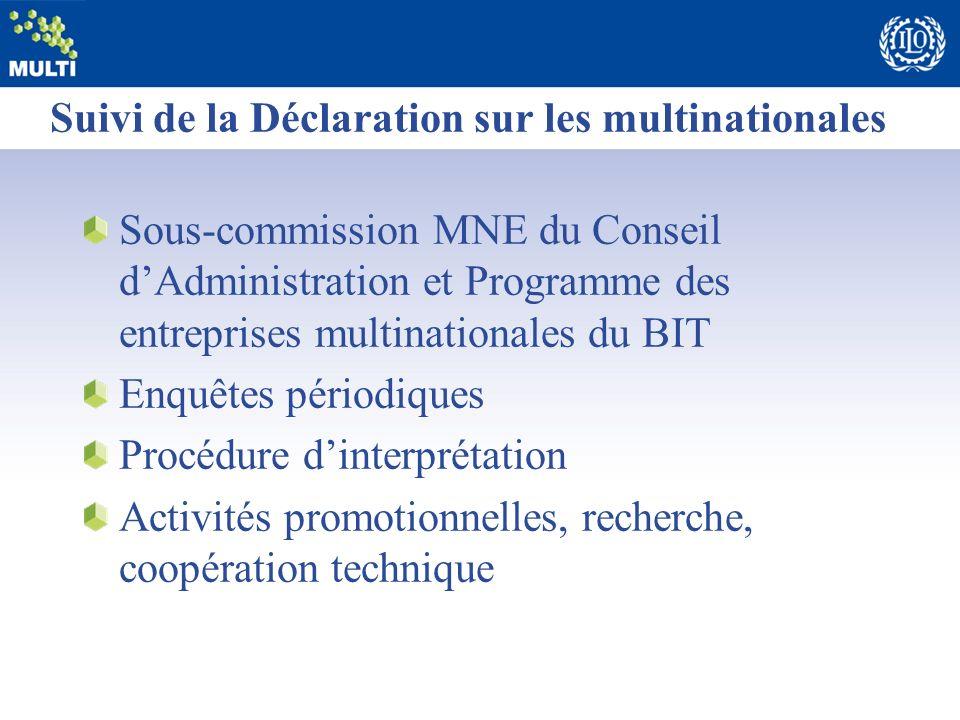 Suivi de la Déclaration sur les multinationales