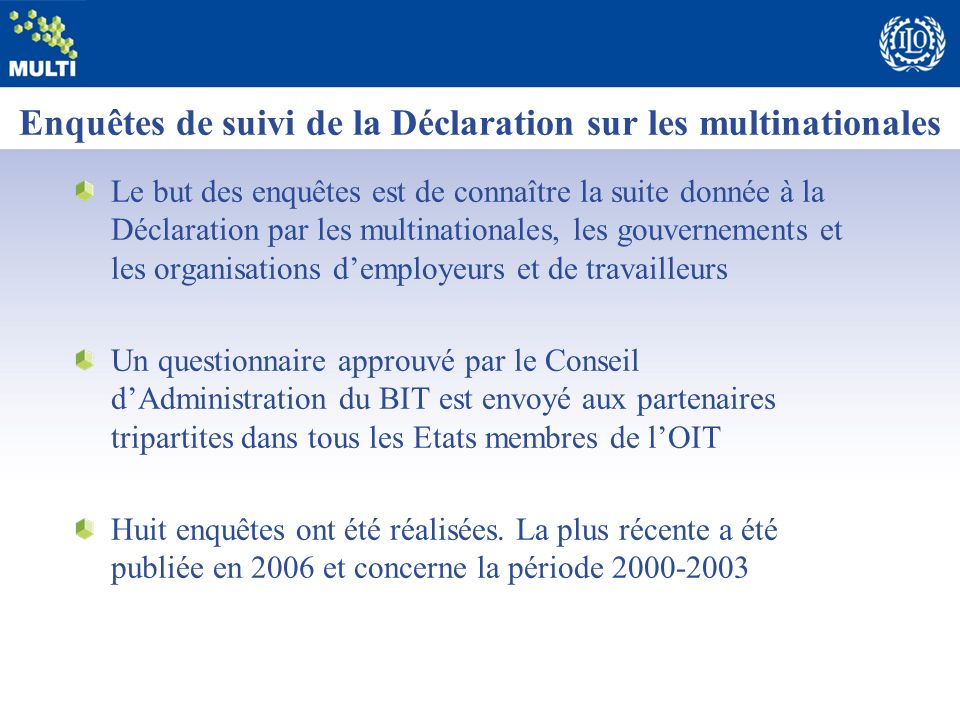Enquêtes de suivi de la Déclaration sur les multinationales