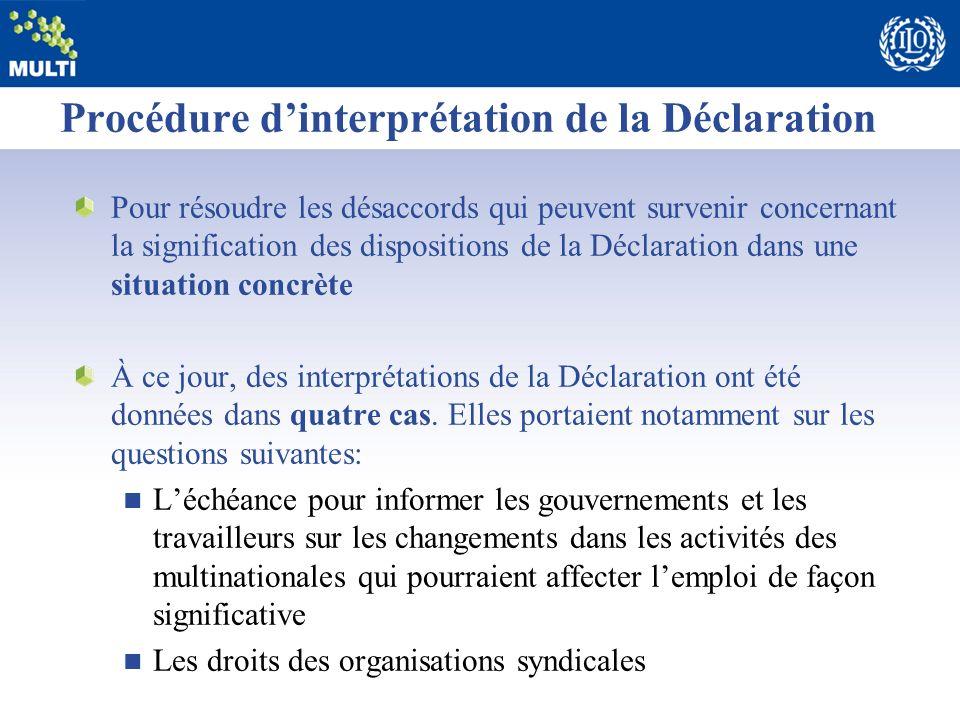 Procédure d'interprétation de la Déclaration