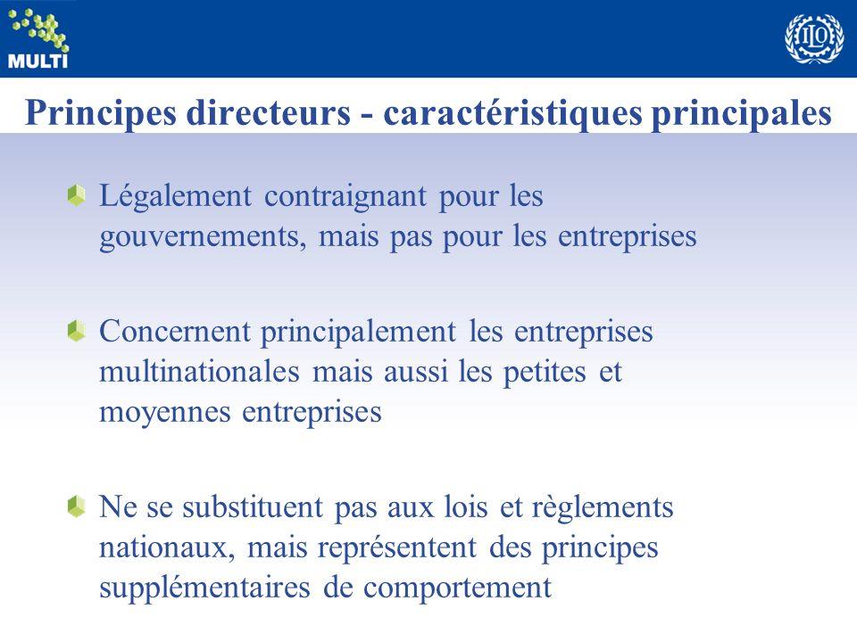 Principes directeurs - caractéristiques principales