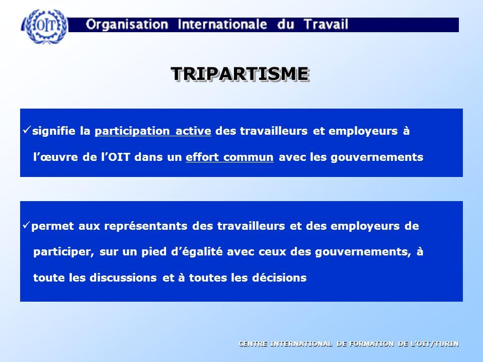 TRIPARTISME signifie la participation active des travailleurs et employeurs à. l'œuvre de l'OIT dans un effort commun avec les gouvernements.