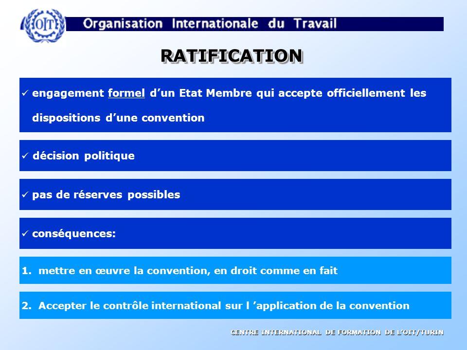 RATIFICATION dispositions d'une convention