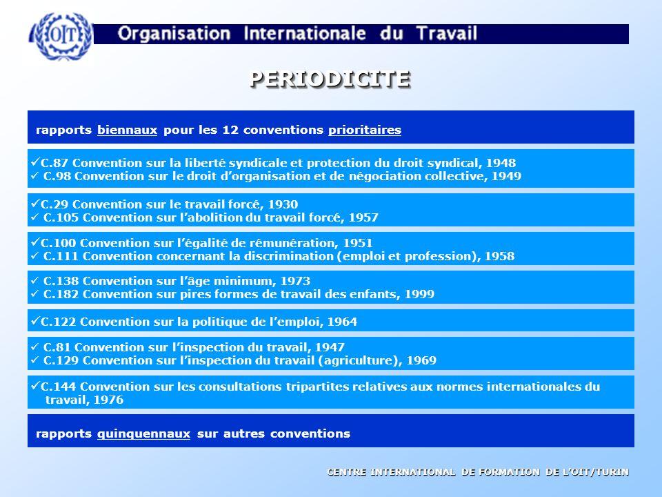 PERIODICITE rapports biennaux pour les 12 conventions prioritaires