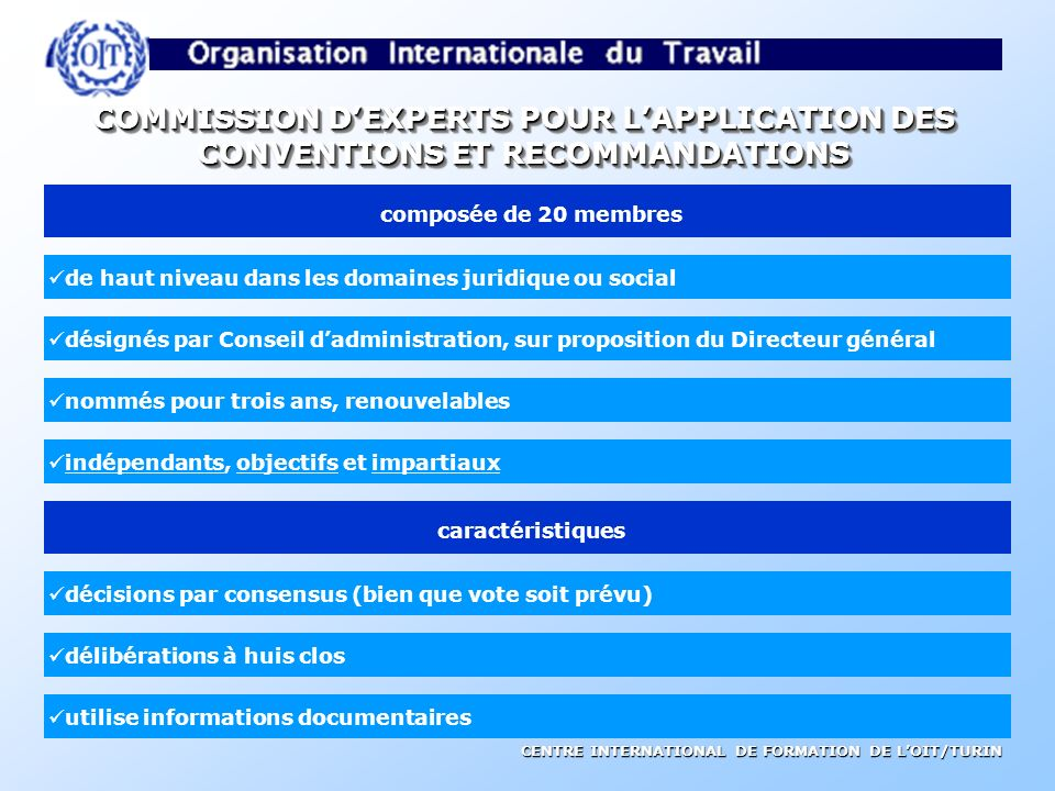 COMMISSION D'EXPERTS POUR L'APPLICATION DES