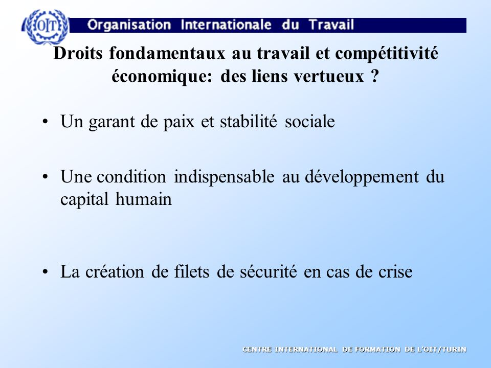 Droits fondamentaux au travail et compétitivité économique: des liens vertueux